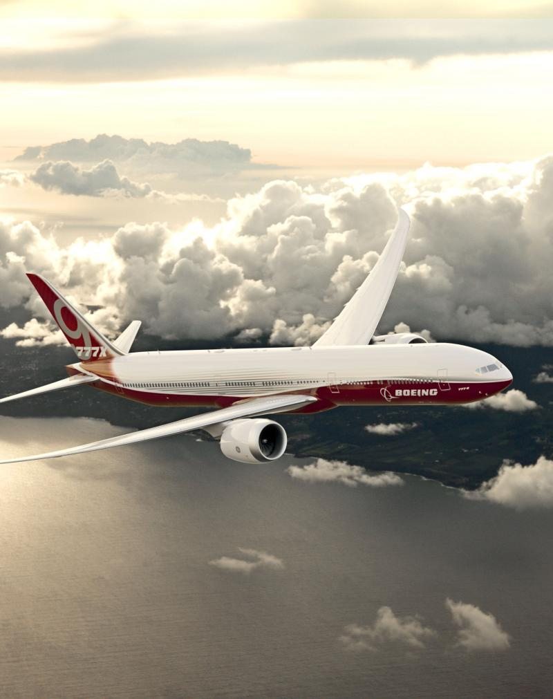 Boeing 777X in Flight
