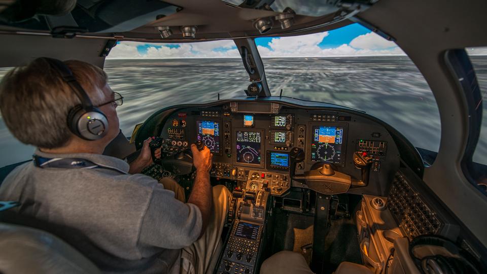 Inside the CJ3 Full Flight Simulator